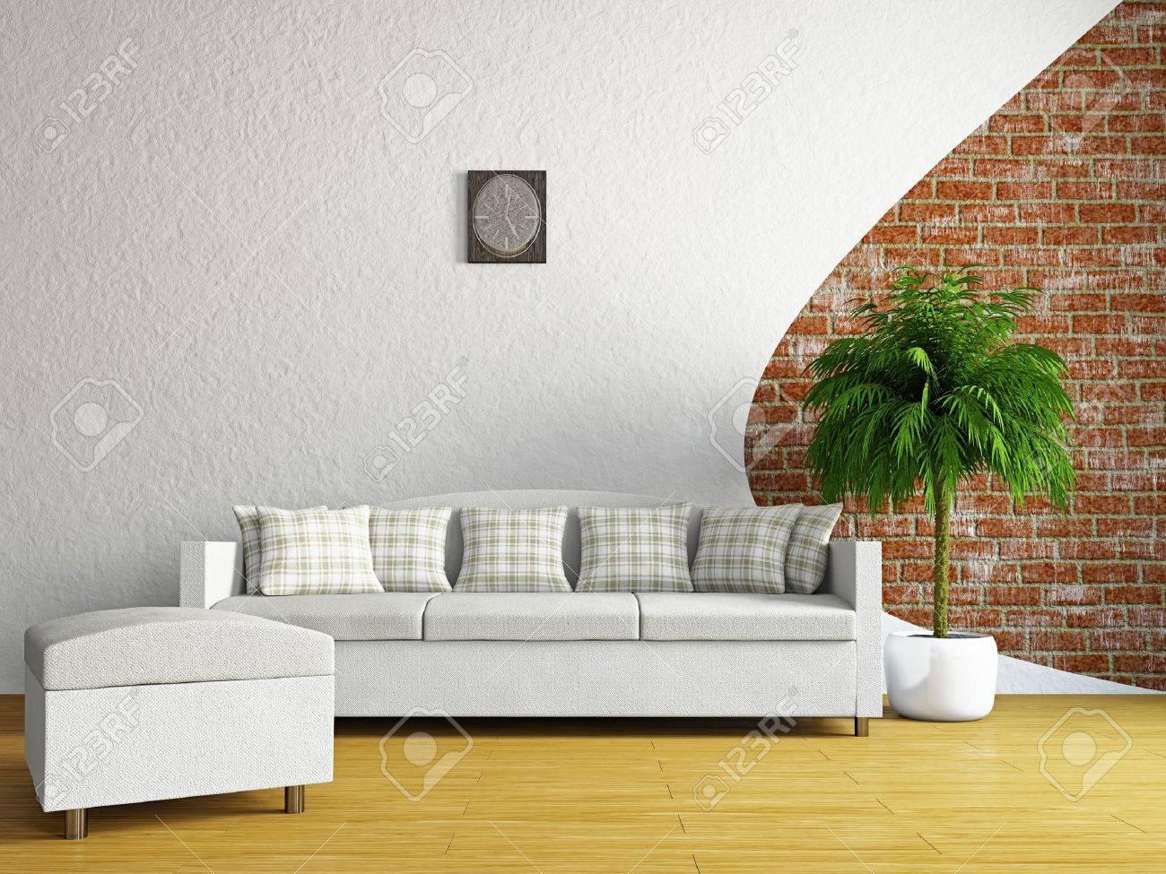 Livingroom with sofa near the wall Stock Photo - 19160911