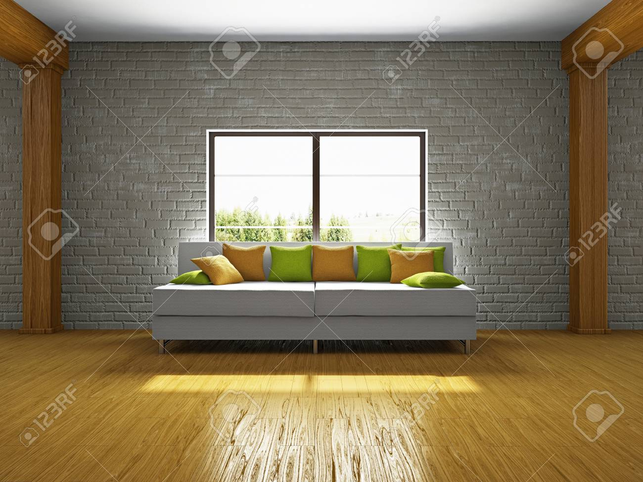 Livingroom With Sofa Near The Window Stock Photo Picture And