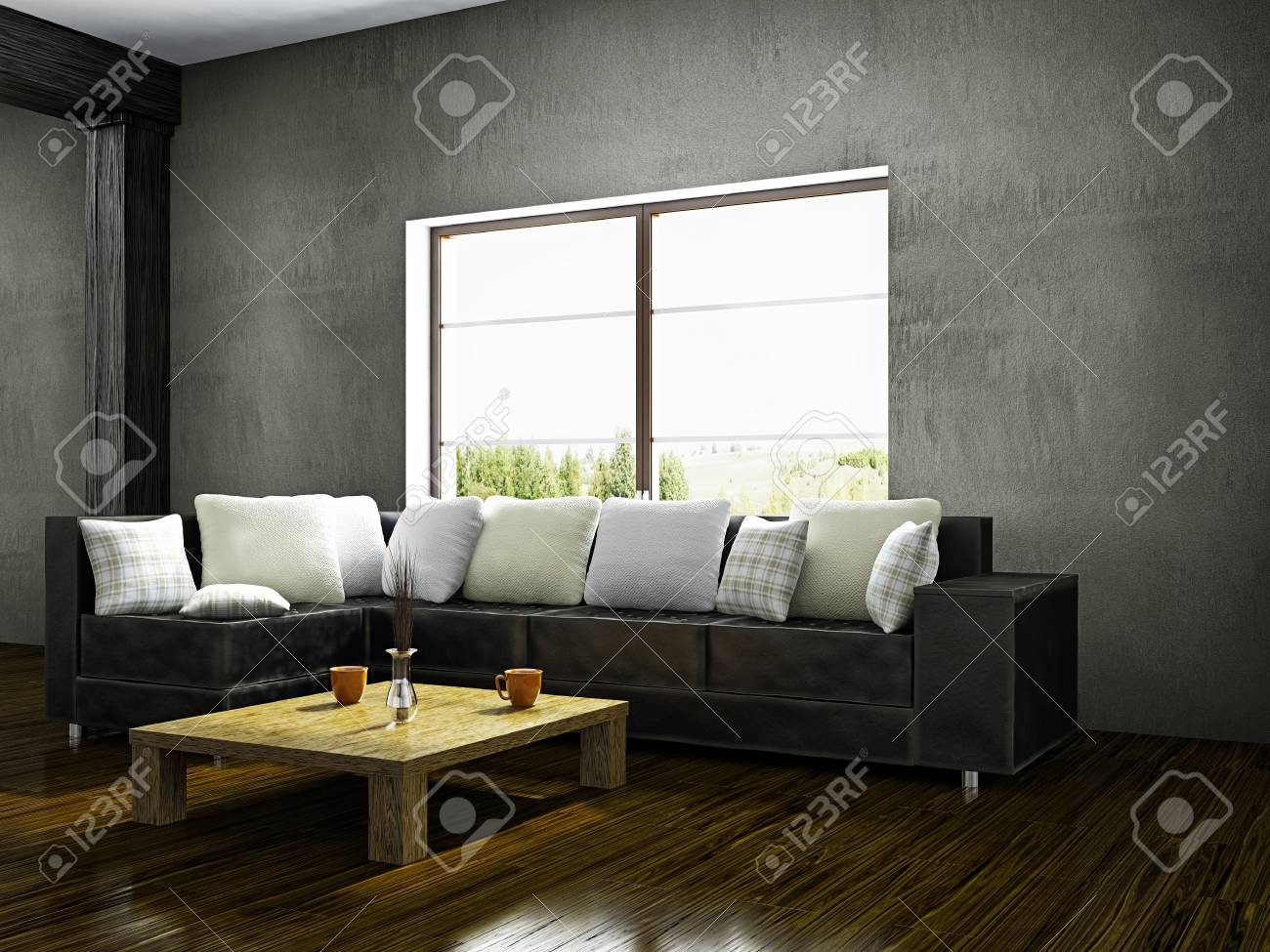 Old Room With Sofa Near The Window Stock Photo Picture And Royalty