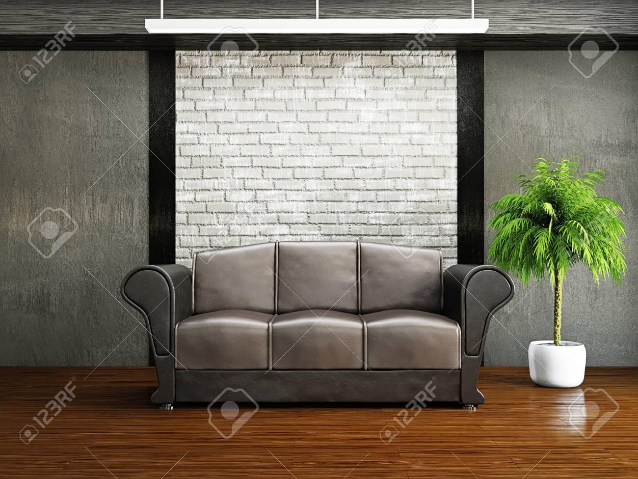 Livingroom with sofa near the wall Stock Photo - 19322780