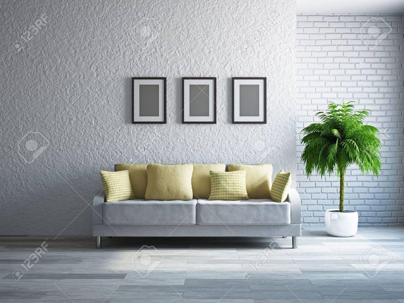 Livingroom with sofa near the wall Stock Photo - 19322783