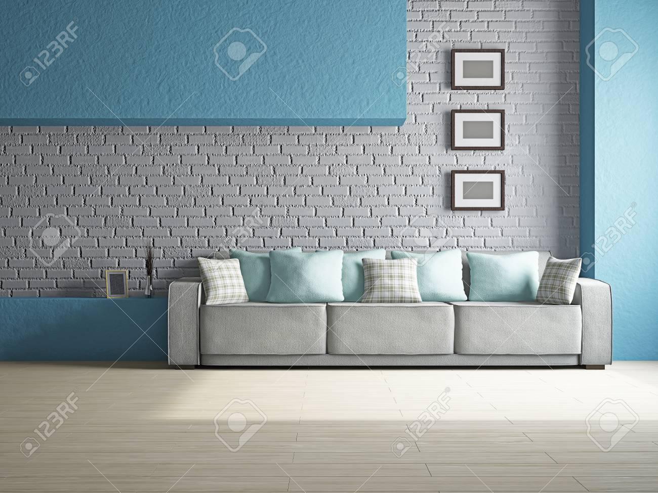 Livingroom with sofa near the wall Stock Photo - 19322784