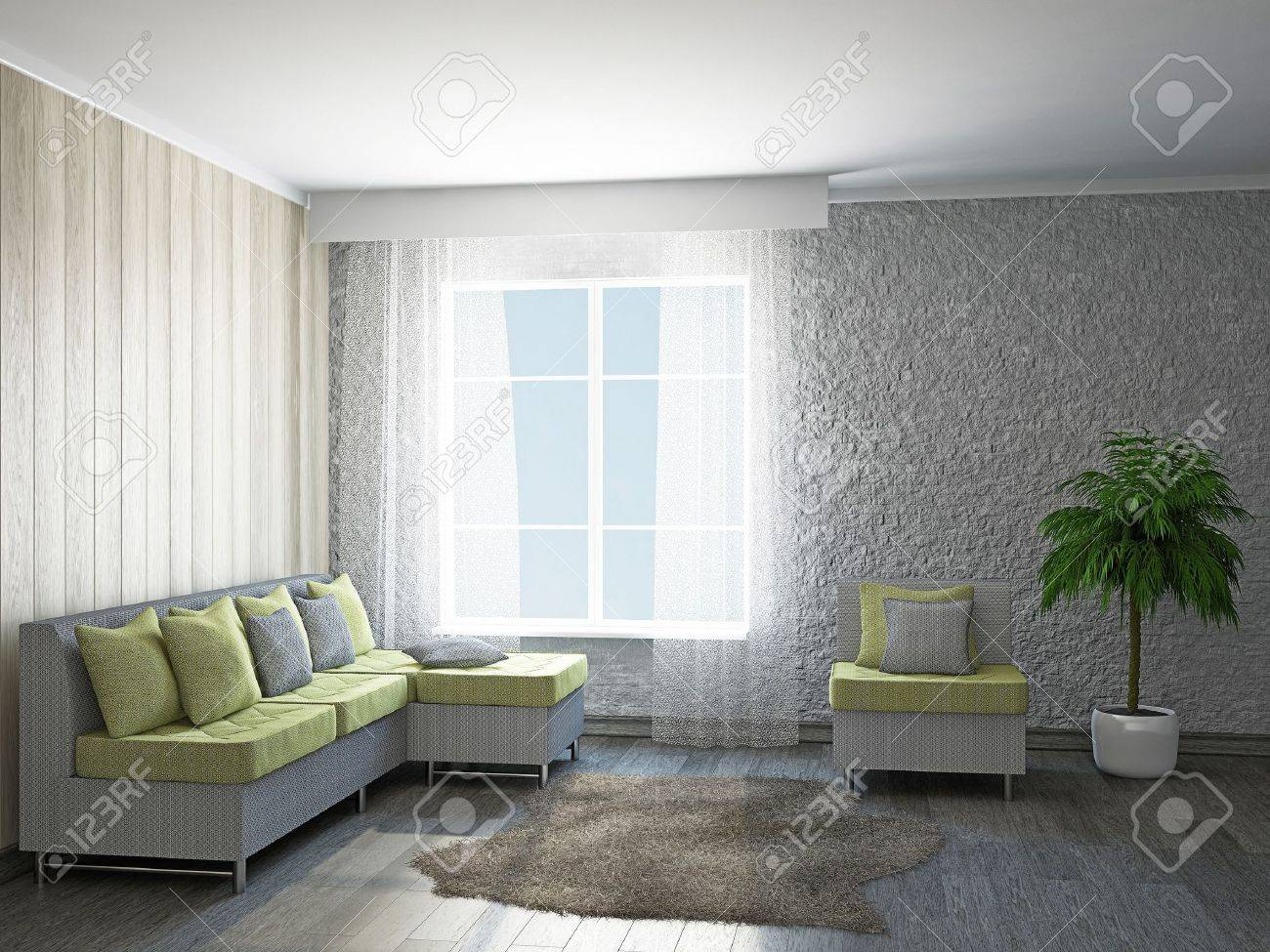 Room With Sofa And The Armchair Near The Window Stock Photo Picture