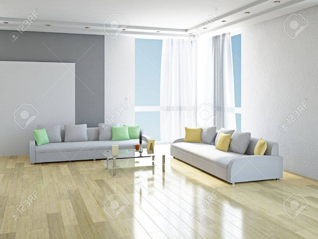 White sofas with green and yellow pillows in the room Stock Photo - 19811100