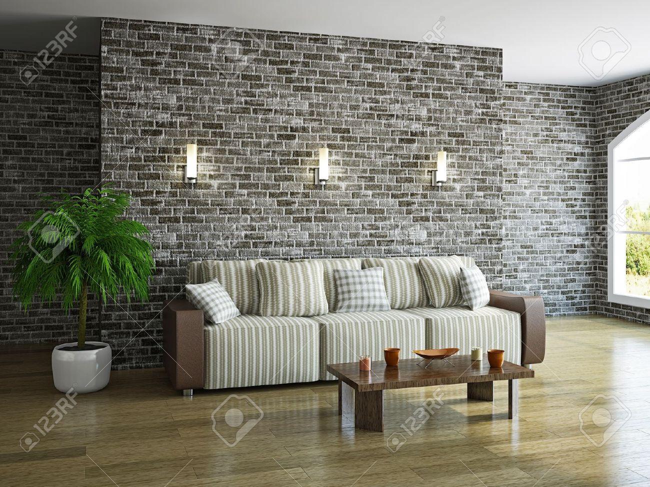 Livingroom With Sofa Near The Brick Wall Stock Photo   19984734 Part 93