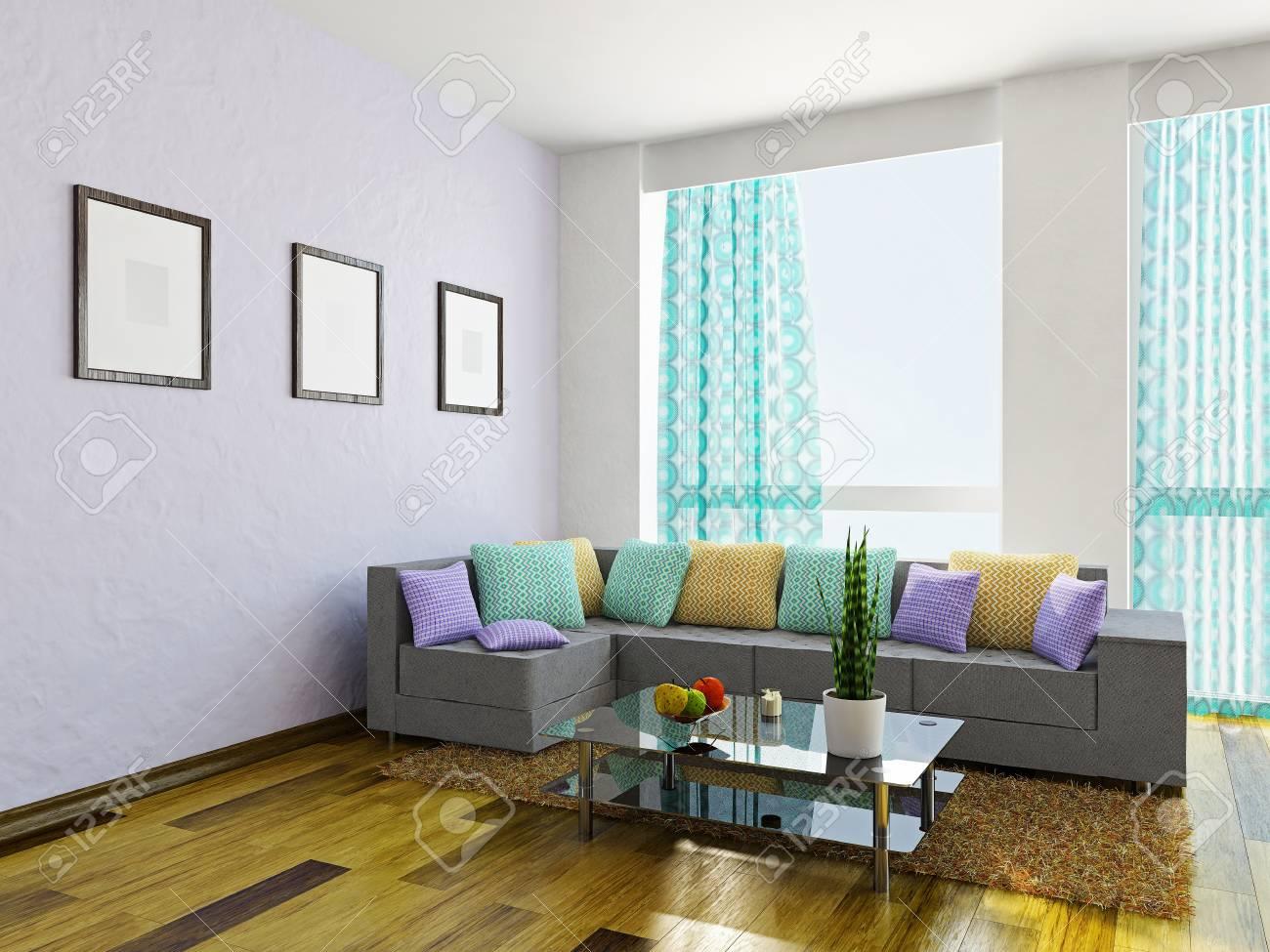 Soggiorno con un divano e un tavolo in vetro