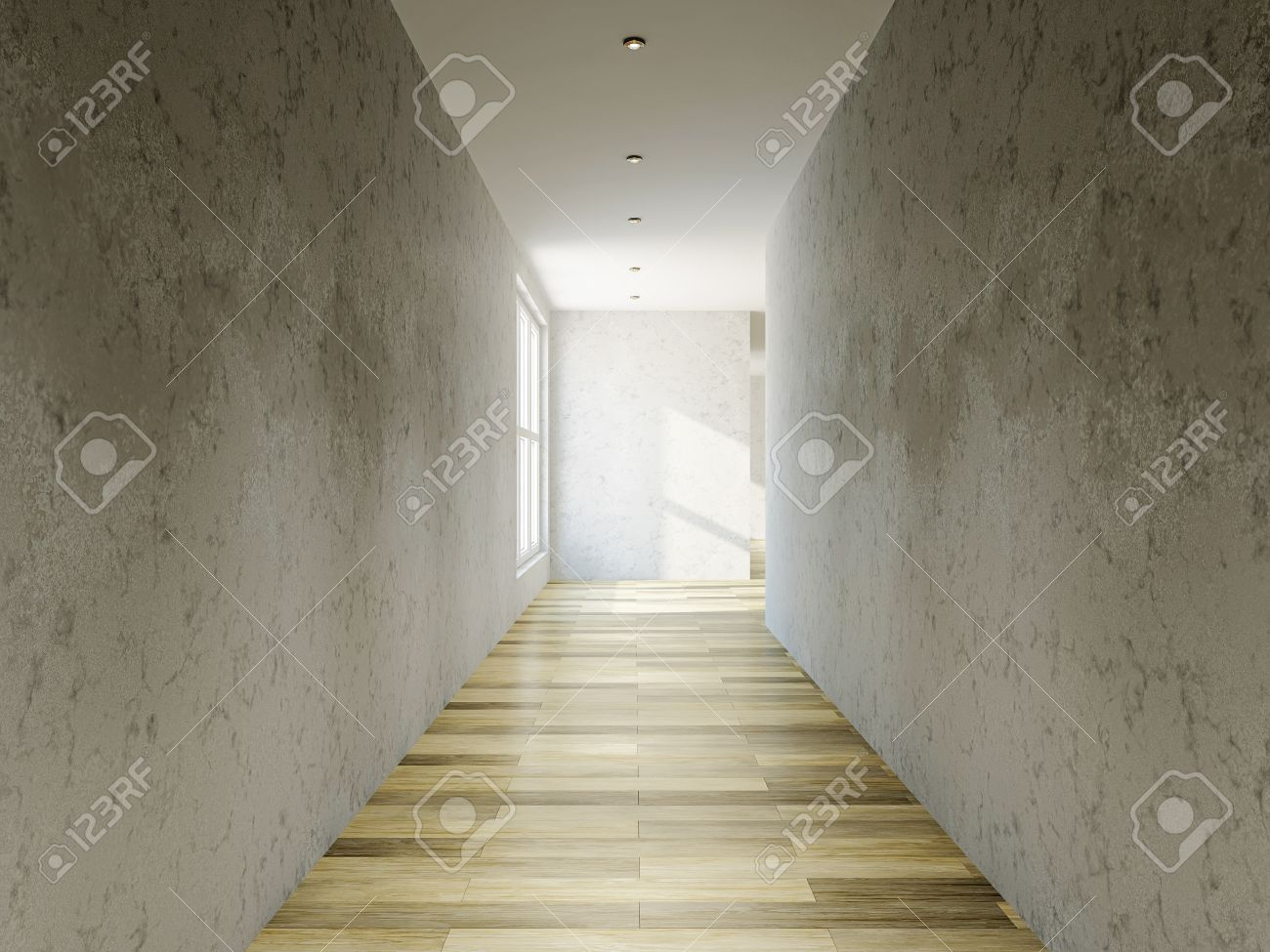 The empty long corridor with concrete wall Stock Photo - 21550658