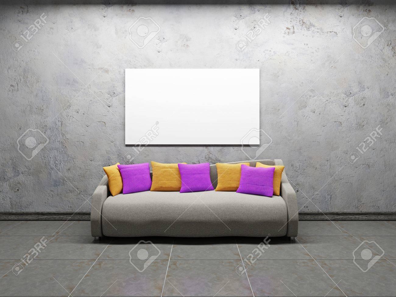 Sofa with pillows near the concrete wall Stock Photo - 22087294