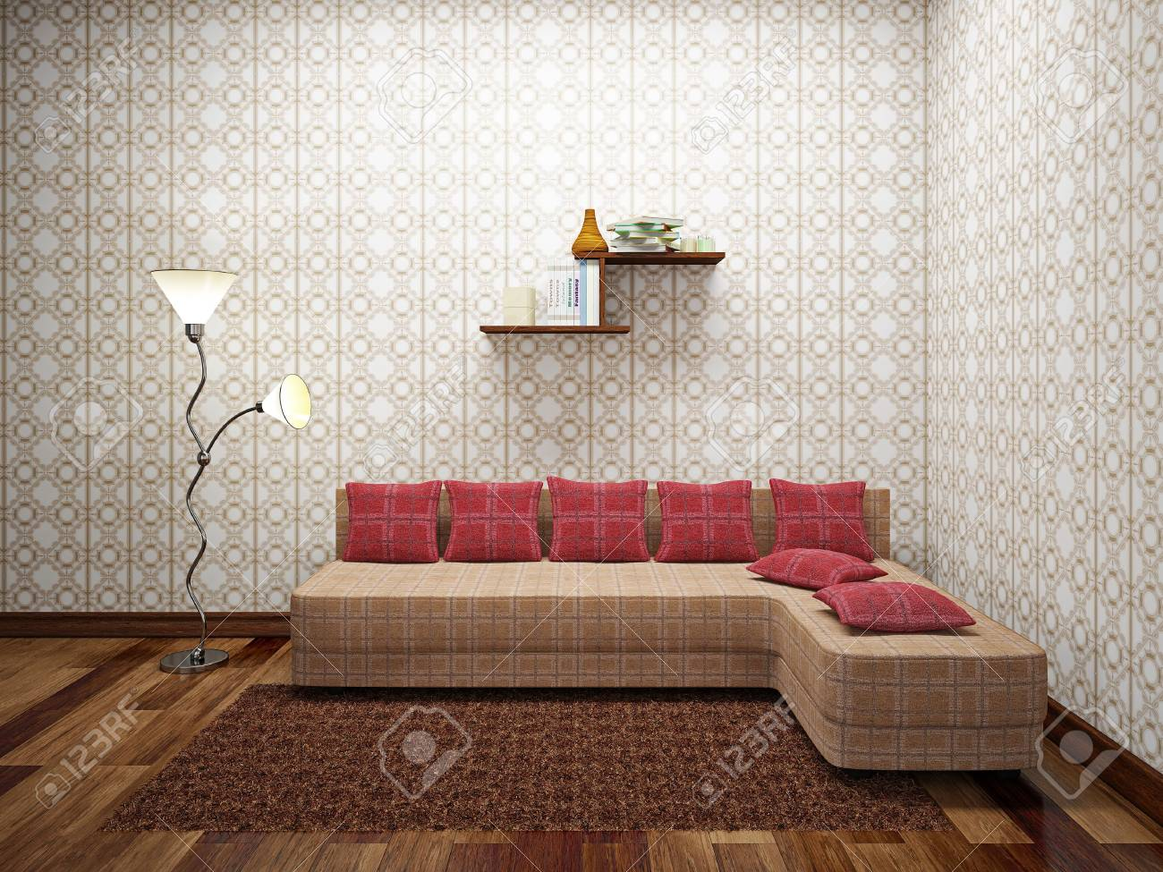 Sofa with red pillows near a wall Stock Photo - 22161187