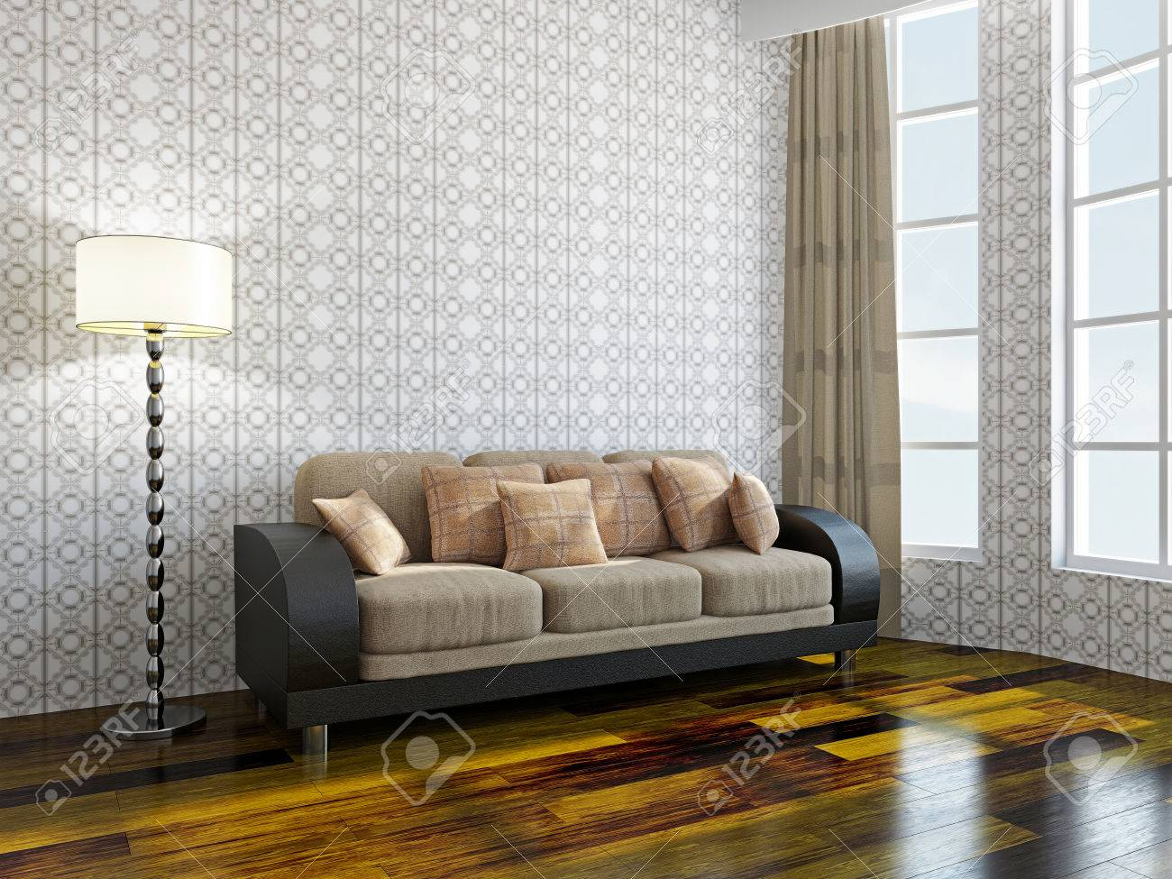 Sofa with pillows near a window Stock Photo - 22252179