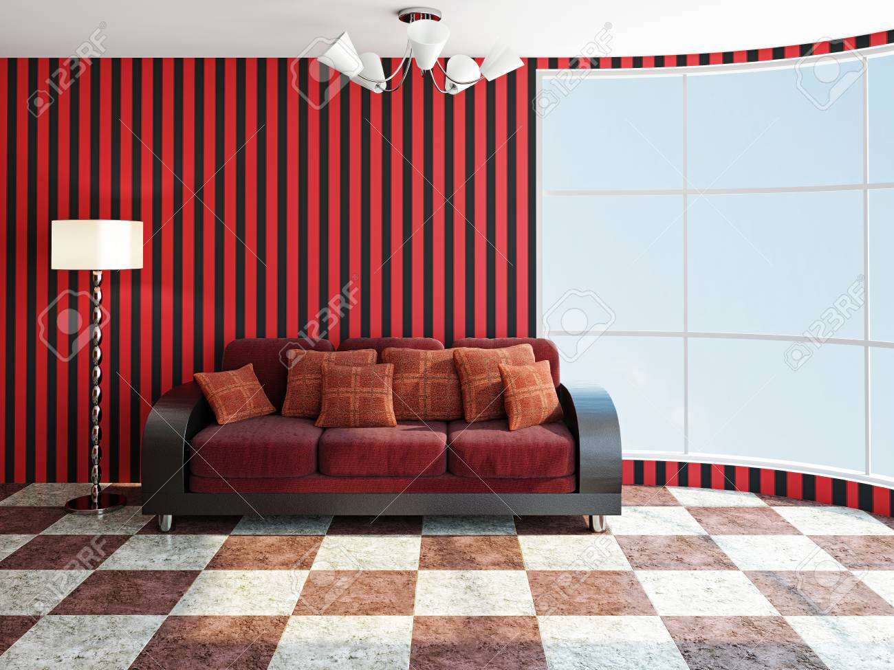 Sofa with red pillows near a window Stock Photo - 22434715