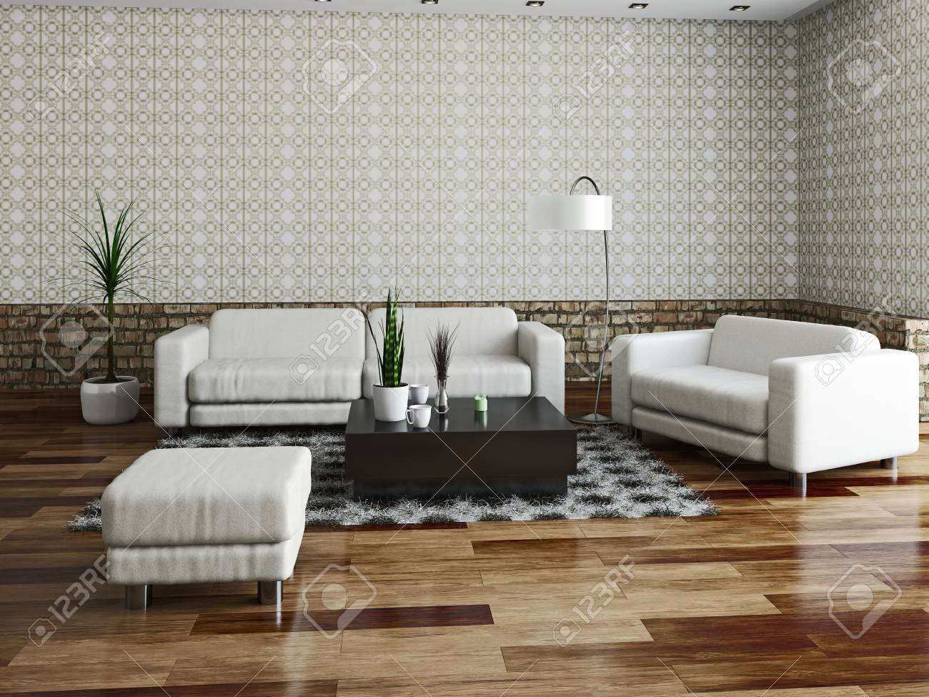Sofa and armchair near a brick wall Stock Photo - 23195358