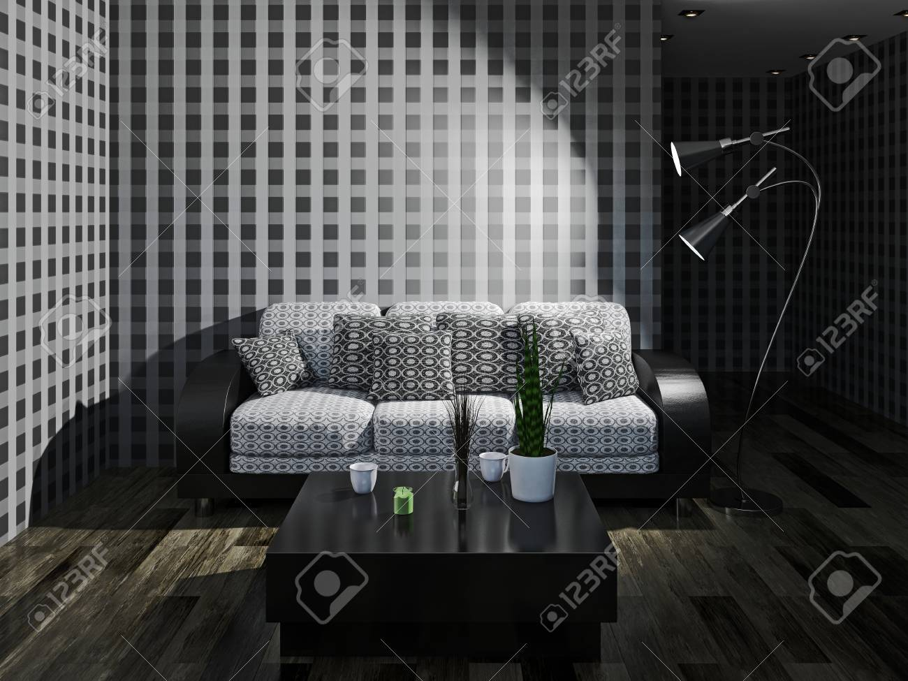Sofa with pillows near a wall Stock Photo - 23196273