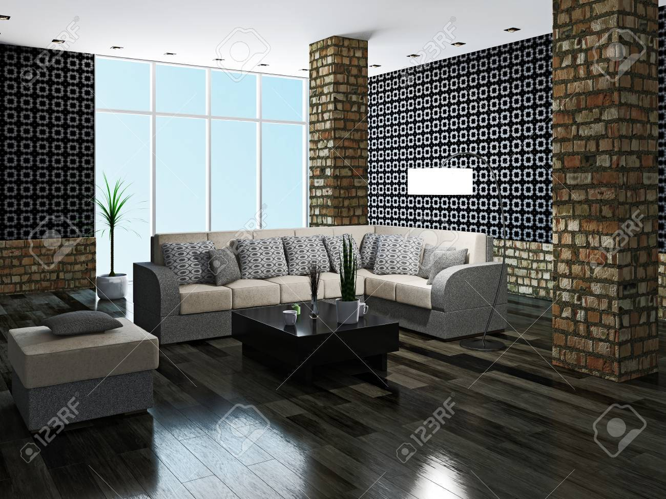 Large livingroom with brick column Stock Photo - 23198200