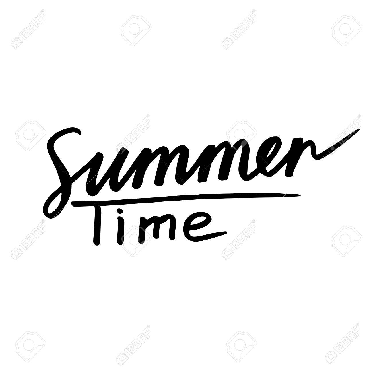 Summer Time Text On White Background Sun Poster With Writing