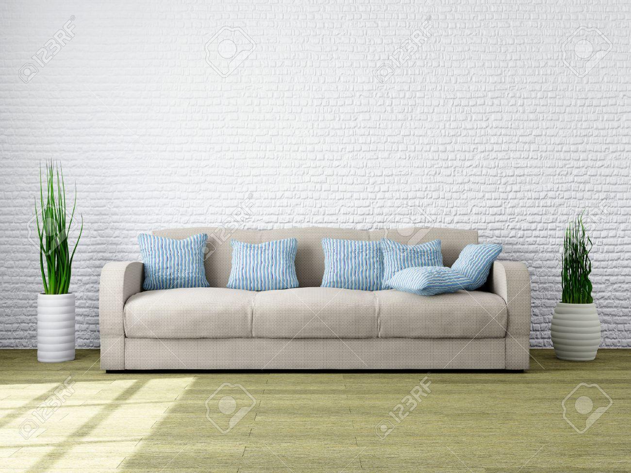 Interior Minimalista Moderno De Una Sala De Estar Con Muebles De ...