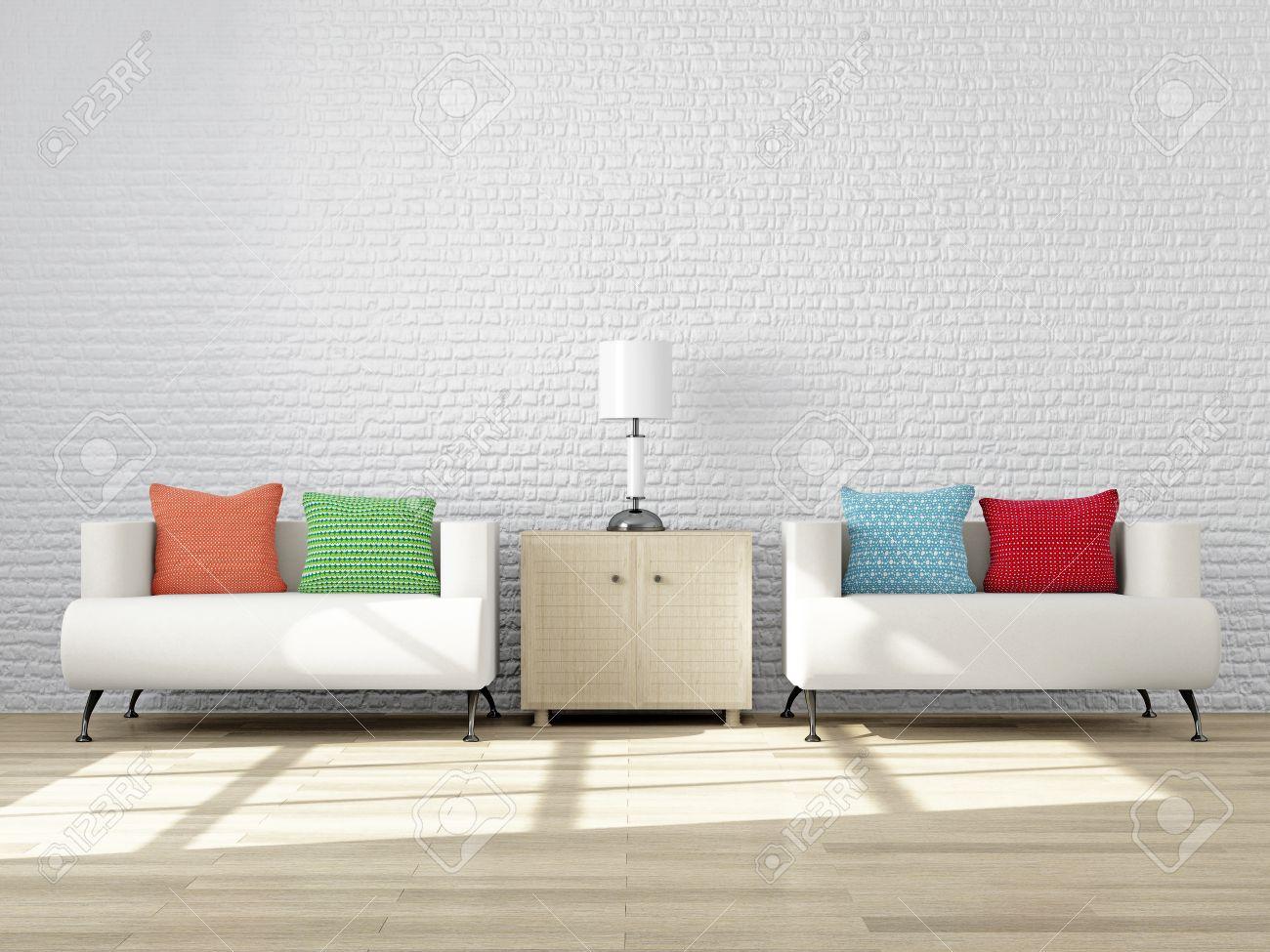 Modernes Interieur Eines Wohnzimmer Mit Möbel Für Die Stimmung Und Design.  Wohnzimmer: Gemütliche Sessel