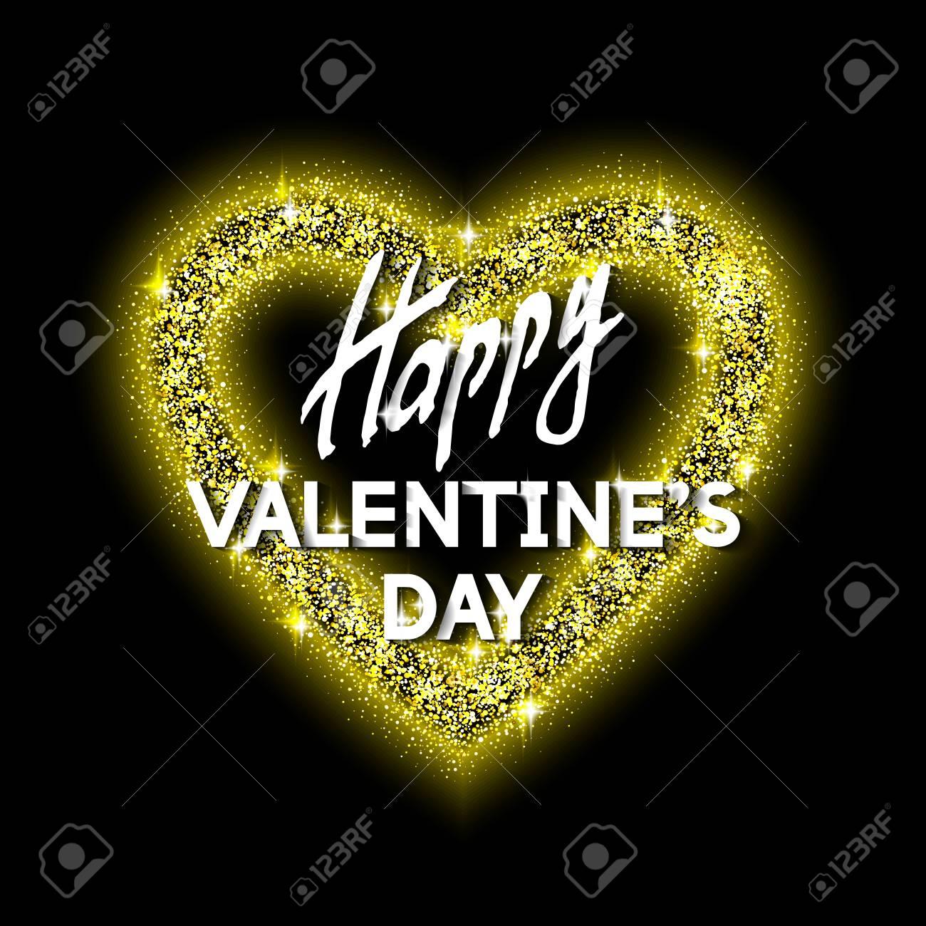 Happy Valentine\'s Day Unusual Golden Glittering Congratulation ...
