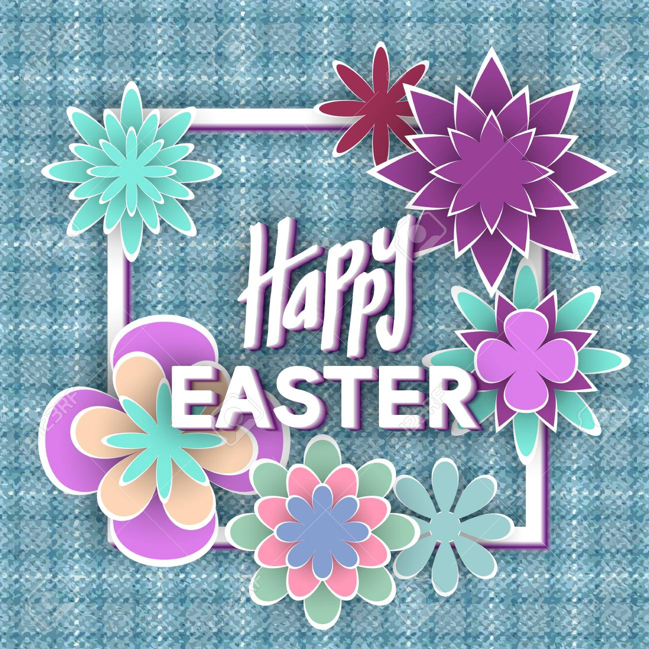 Happy Easter With Paper Flowers For Invitation Card Design Stock