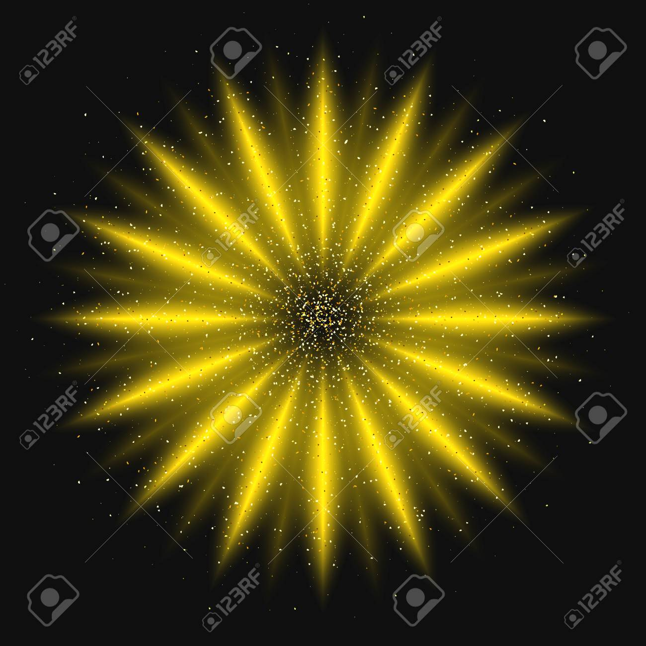 Abstract Sun Gold Powder On A Black Background. Luxury Golden ...