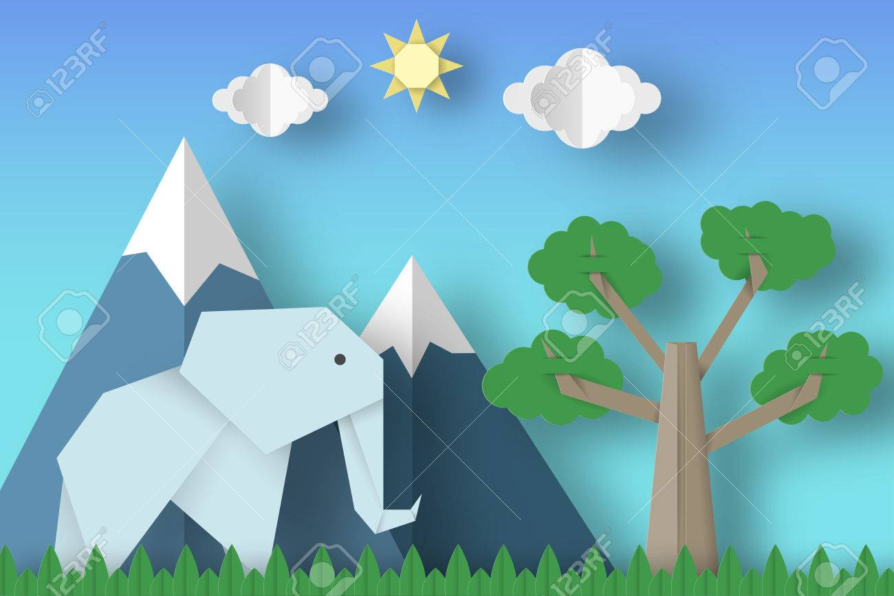 Cut Elephants Tree Clouds Sun For Paper Origami Concept Applique Scene