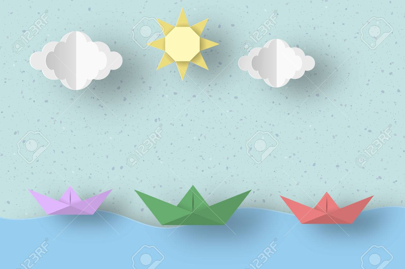 Cut ships clouds sun for paper origami concept applique scene cut ships clouds sun for paper origami concept applique scene childish cutout jeuxipadfo Gallery