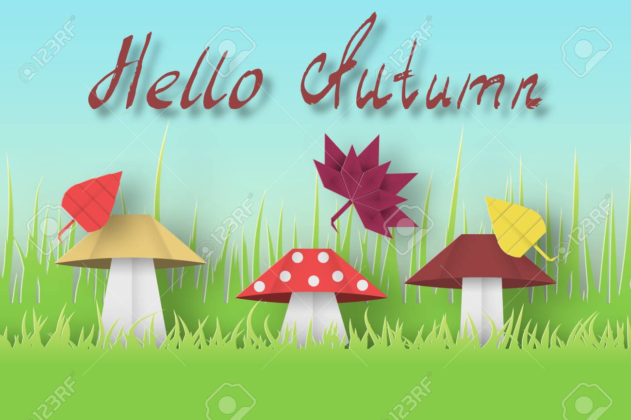 Hello autumn paper greeting card crafted abstract origami concept