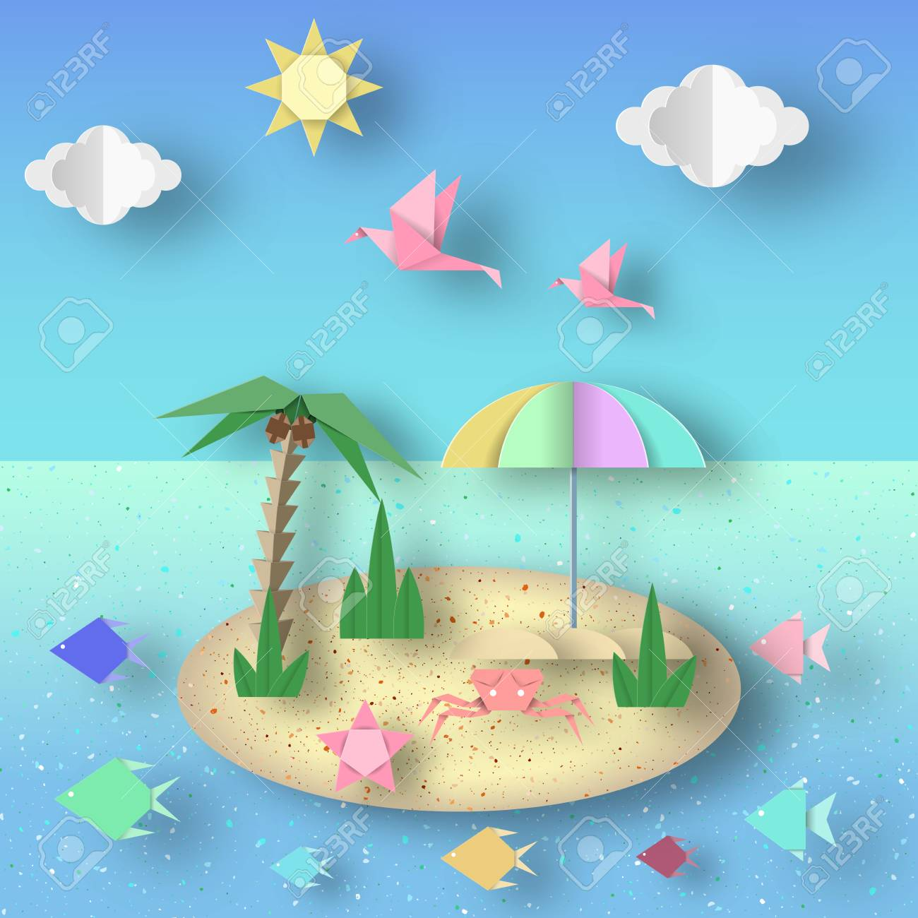 Summer origami fun art applique paper crafted cutout world summer origami fun art applique paper crafted cutout world composition with style elements and jeuxipadfo Image collections