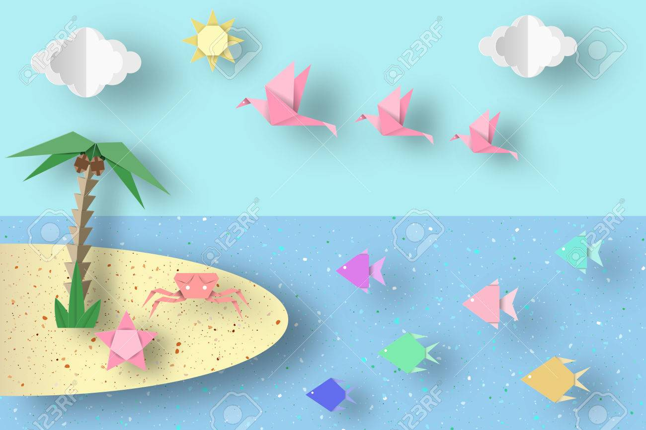 Summer Origami Fun Art Applique Paper Crafted Cutout World Composition With Style Elements And