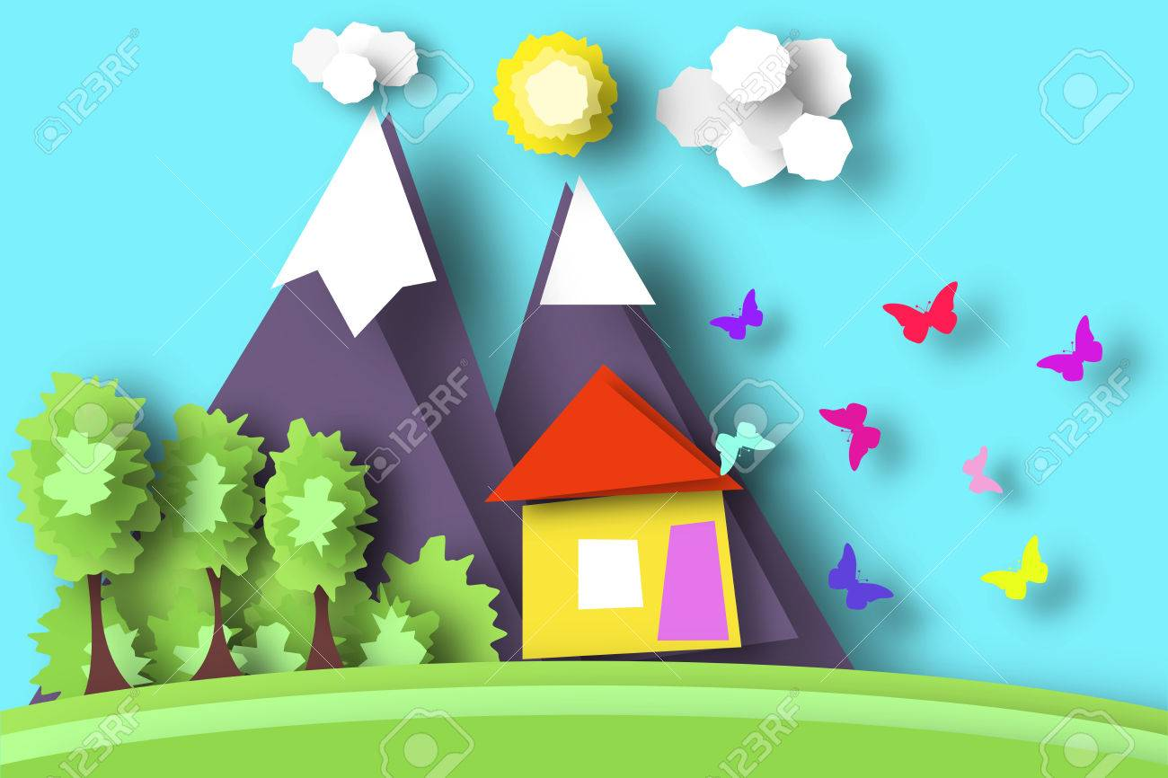 Village Scene Paper World Rural Life With Cut Butterflies House