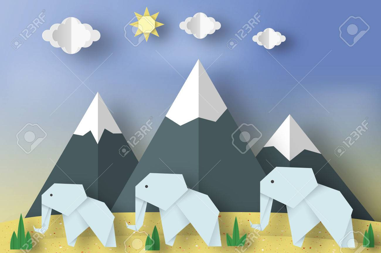 Paper origami concept applique scene with cut elephants