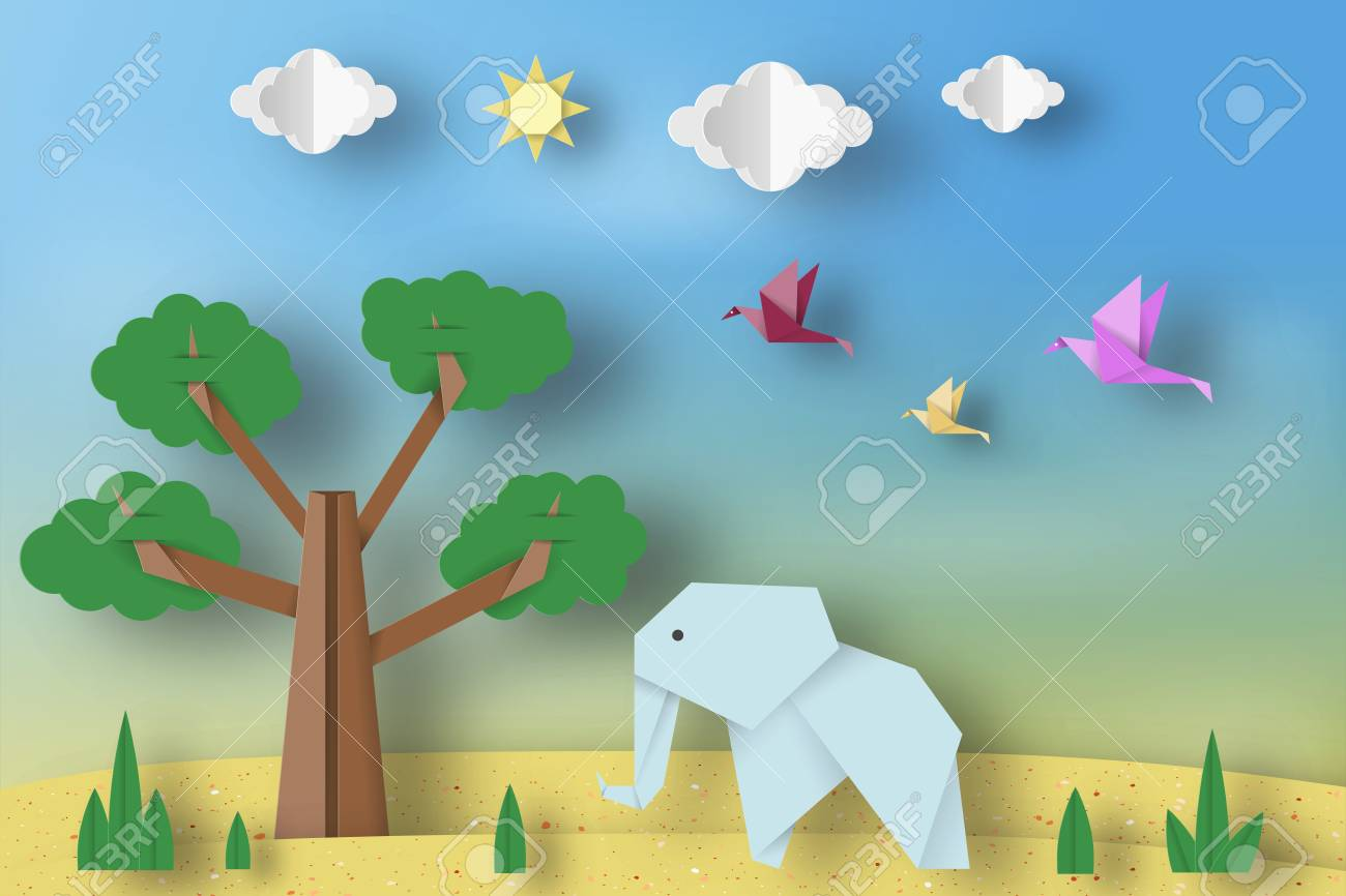 Paper Origami Concept Applique Scene With Cut Elephants Birds Tree Clouds