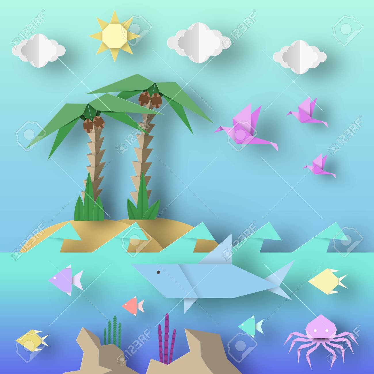 Origami Style Crafted Out Of Paper With Cut Shark Palm Birds Fish