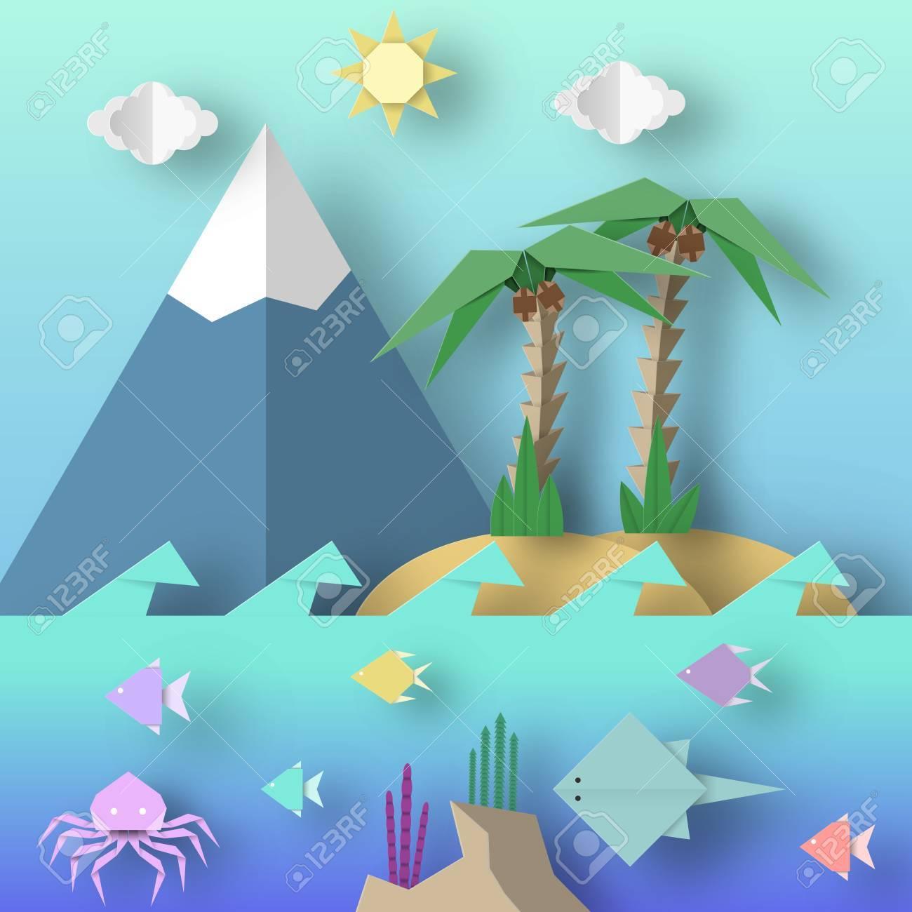 Origami Estilo Elaborado A Cabo De Papel Con Corte De Palma, Montaña ...
