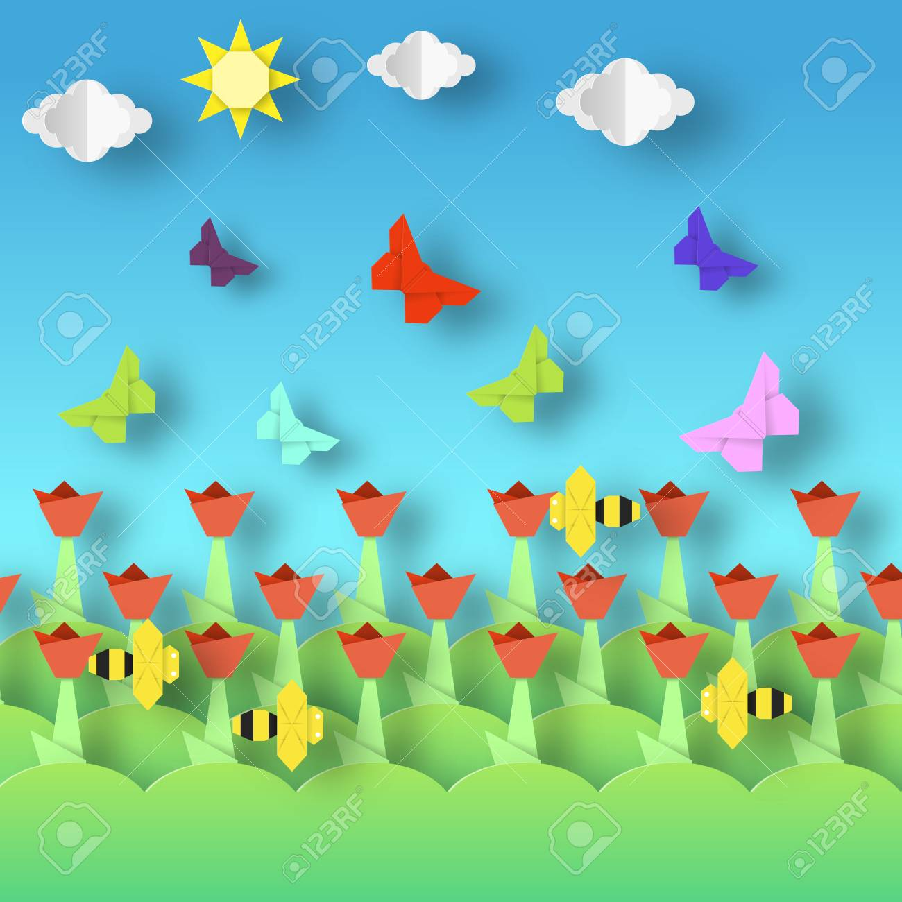 Origami Style Crafted Out Of Paper With Cut Colorful Flowers Butterflies Bee Abstract