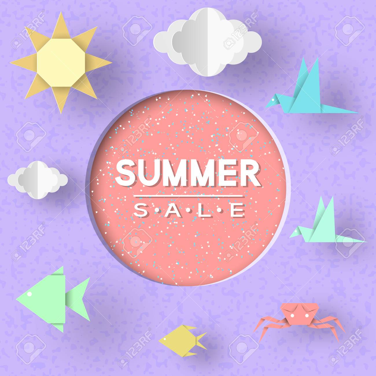 Summer Sale Paper Concept Origami Symbols And Typographic Text