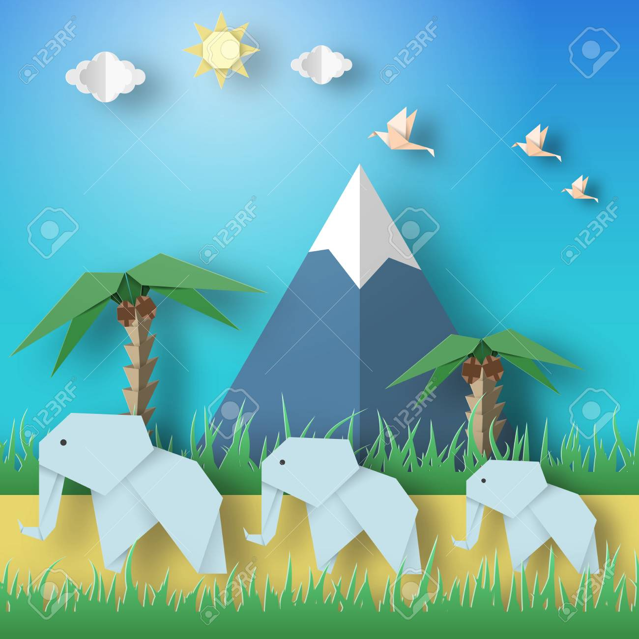 Paper Origami Concept Applique Scene With Cut Elephants Birds Mountains Clouds