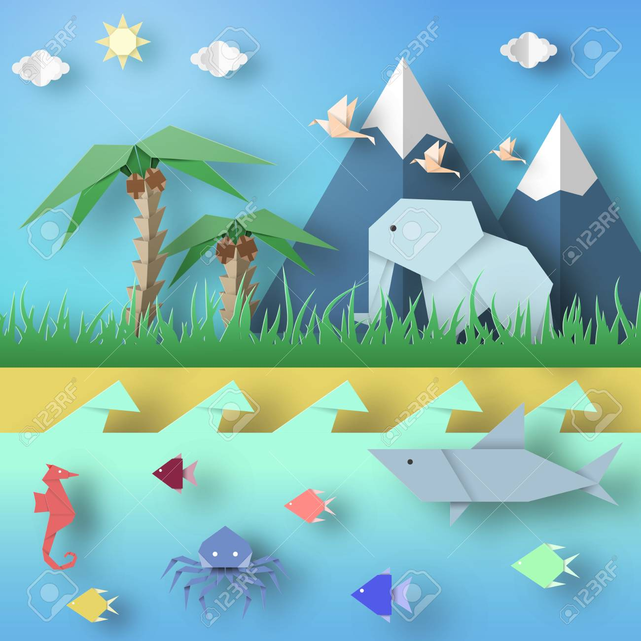 Paper Origami Abstract Concept Applique Scene With Cut Elephants Birds Underwater Life