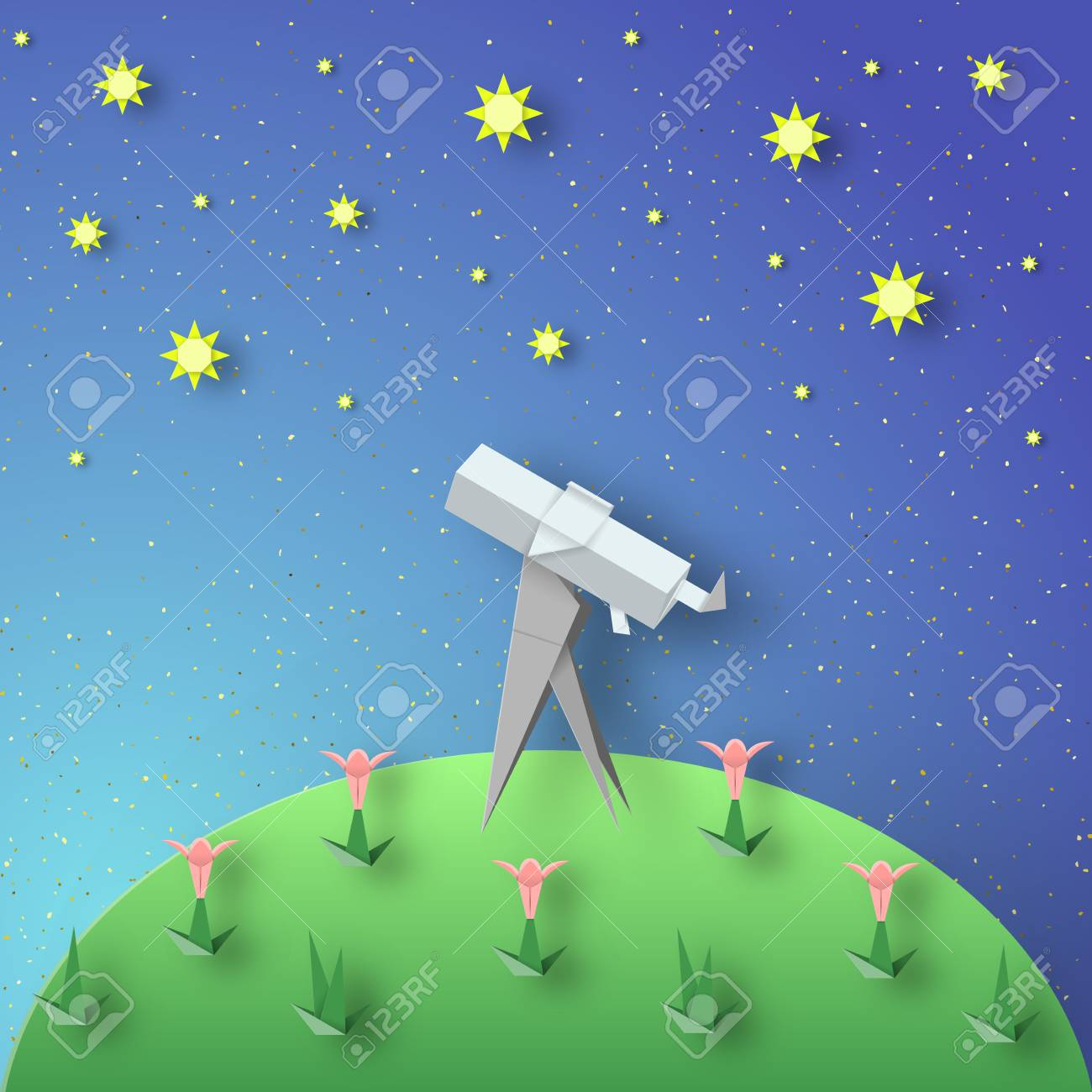 Paper Origami Abstract Concept Applique Scene With Cut Telescope And Stars Stock Vector