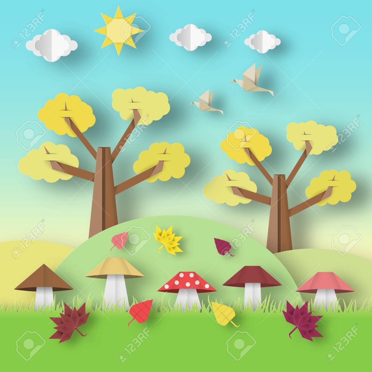Autumn Origami Landscape With Clouds Sun Mushrooms Leaves Birds Trees