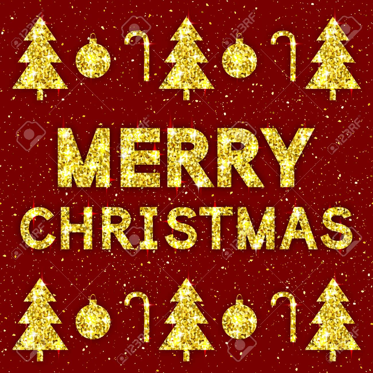 Merry Christmas Golden Text Glittering Xmas Greeting Card With