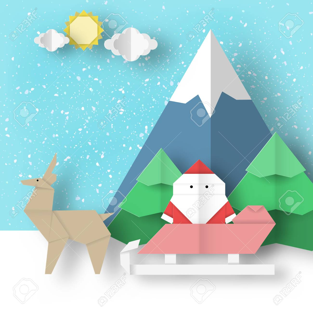 Christmas Origami Landscape Holiday Folded Scene Paper Santa Claus And Reindeer Is Coming For Xmas