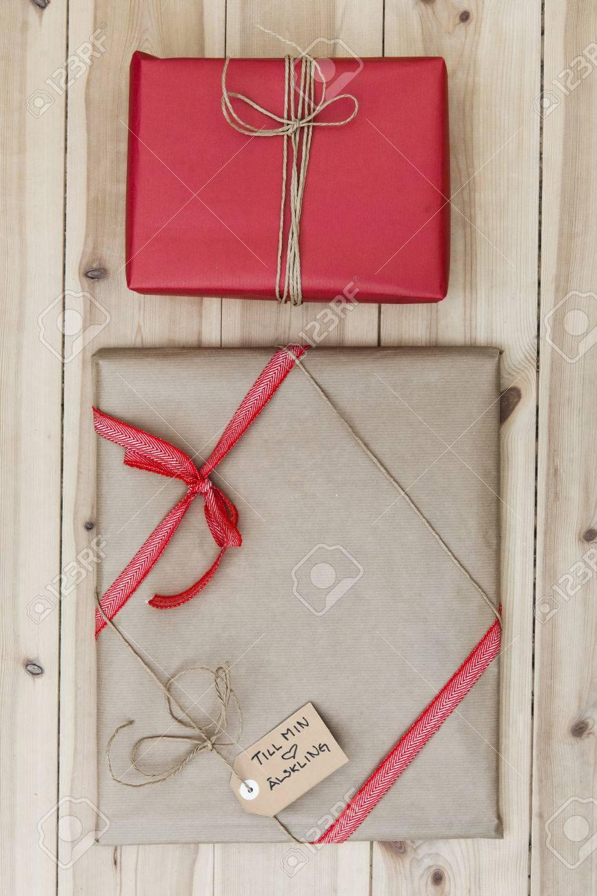 Christmas Gift Packages.Christmas Gift Packages On Wooden Floor