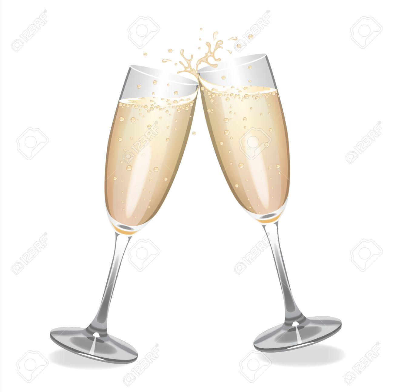 Champagne glasses clinking together. - 60616707