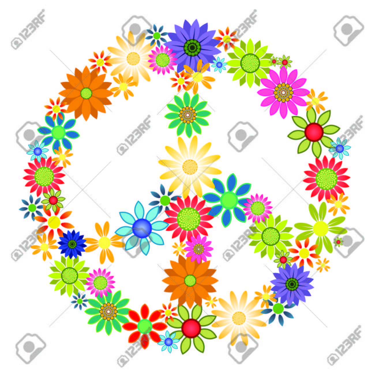 Colourful Flowers Forming The Shape Of A Peace Symbol Royalty Free