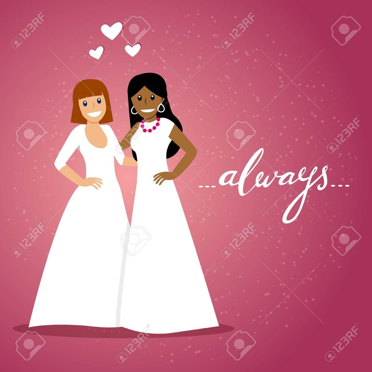 幸せな同性カップルと手書き単語の「常に」ロマンチックなベクトル図が