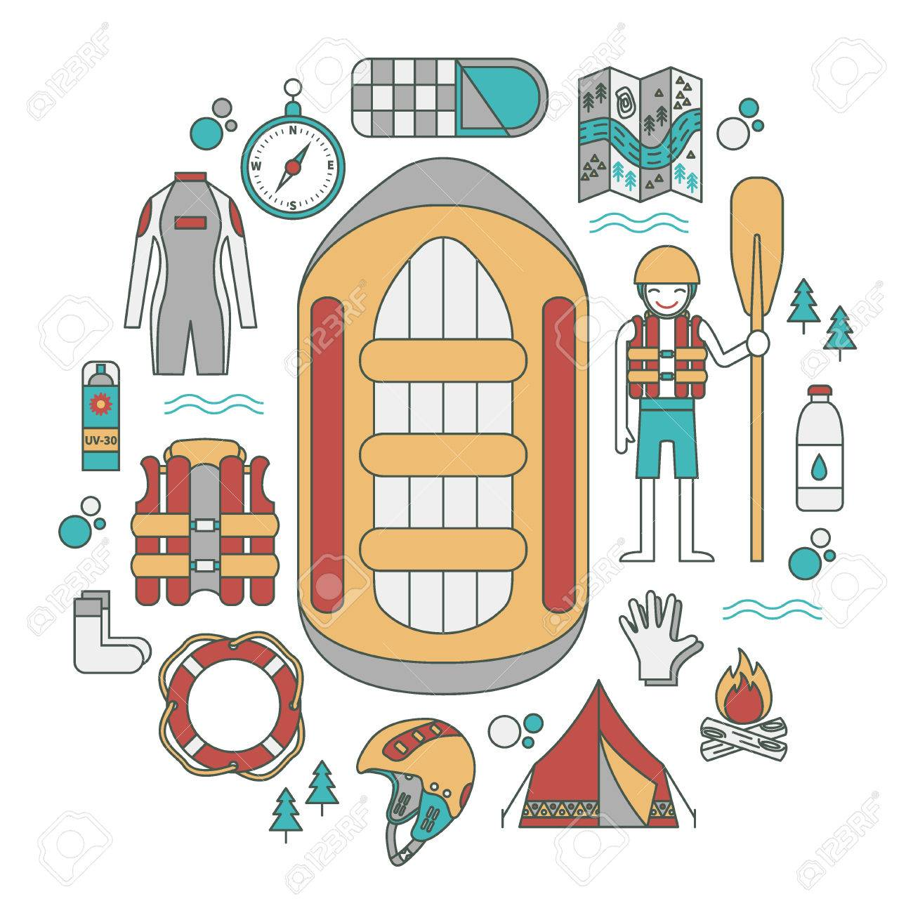 Vector Illustration With Rafting And Camping Equipment