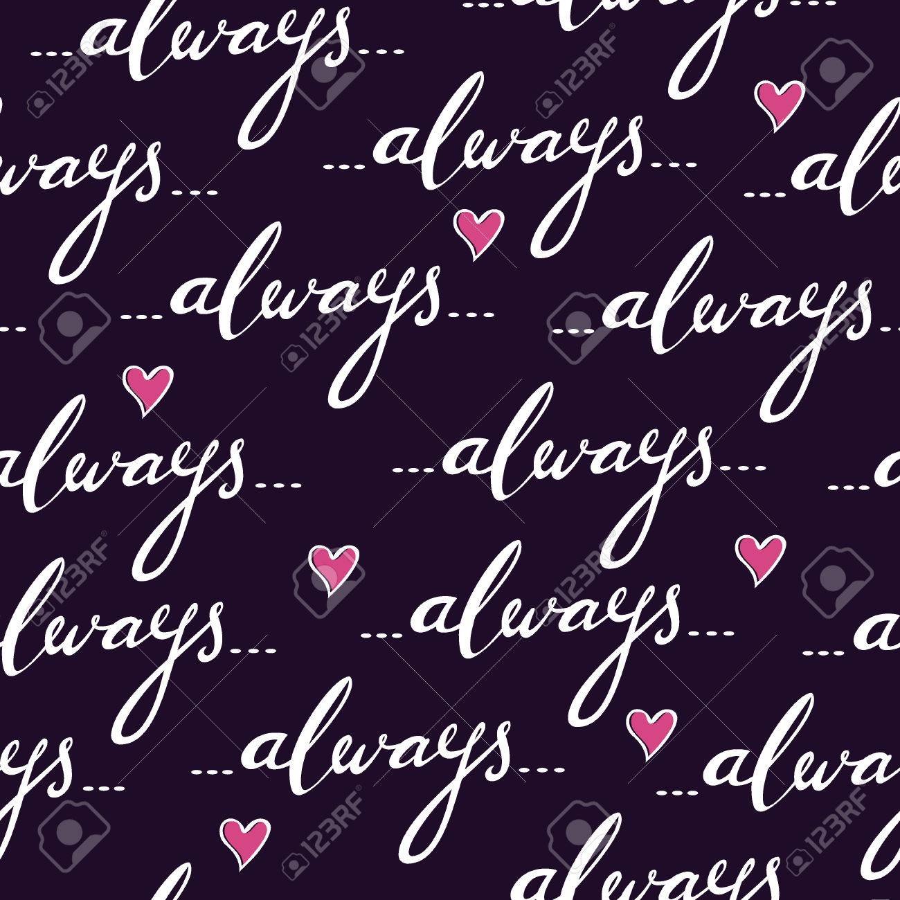 Romantic vector seamless background greeting card wallpaper vector art - Romantic Seamless Vector Pattern With Hand Written Word