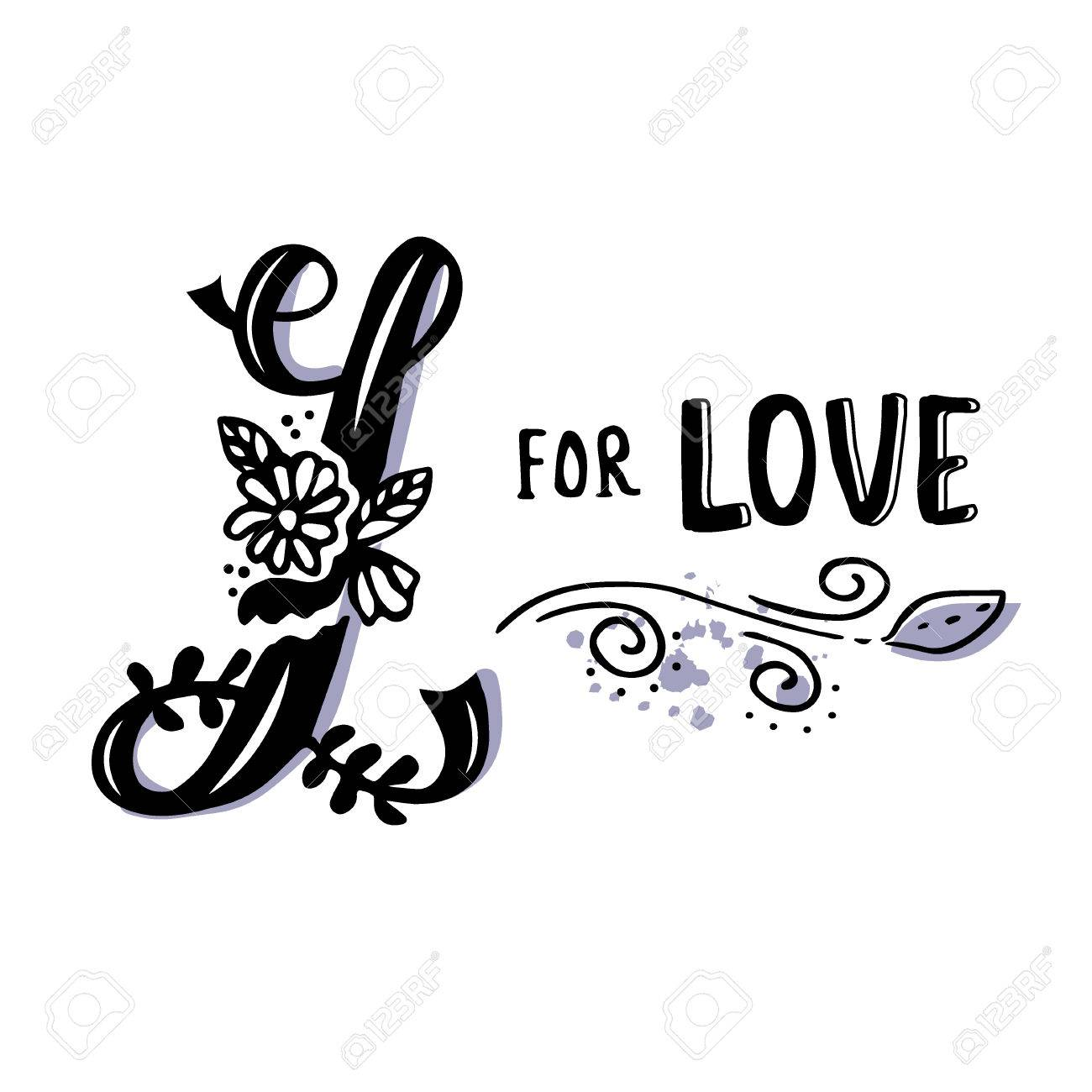 L For Love Hand Drawn Flourished Capital Letter And Decoration Elements Isolated On White