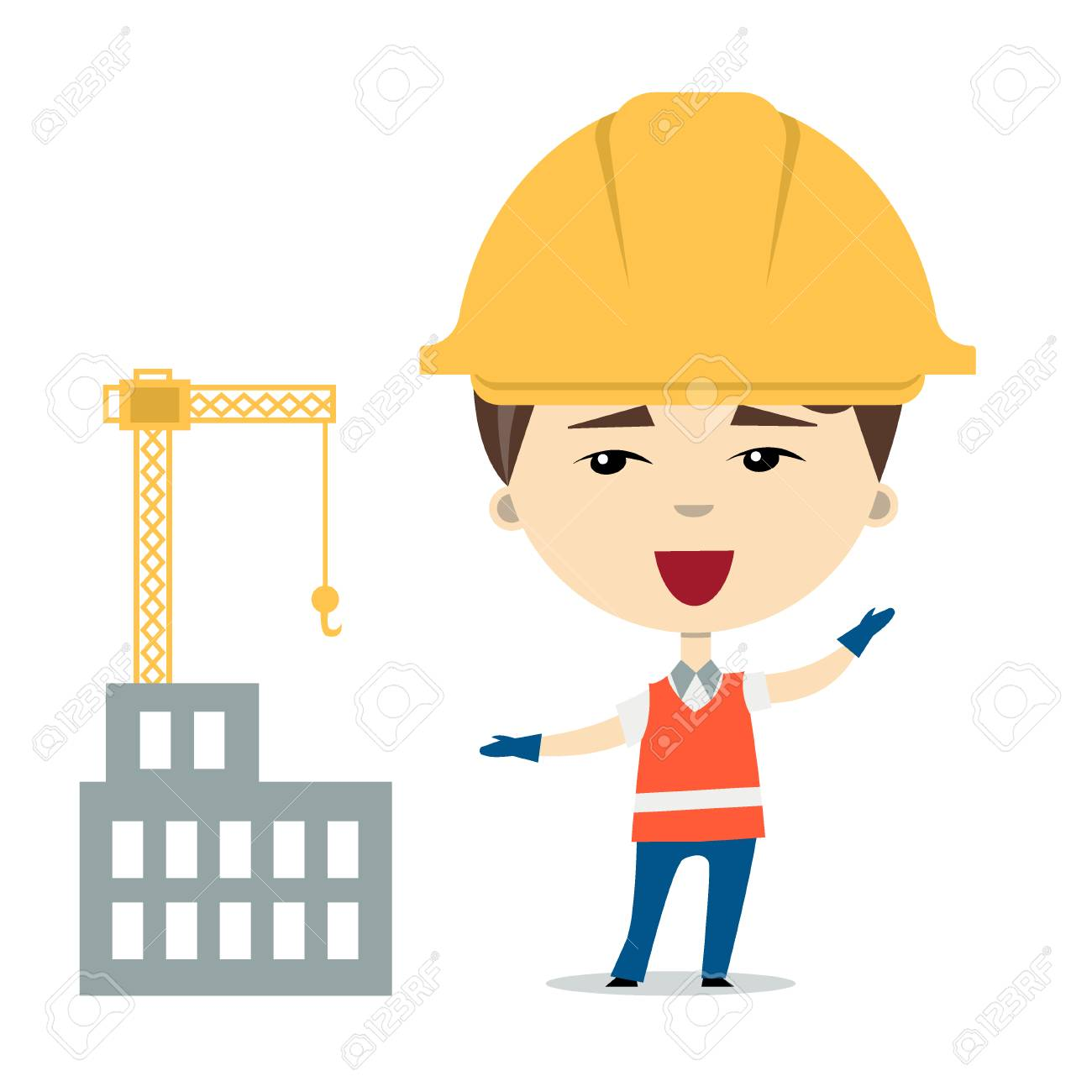 Flatvector Illustration Of Funny Cartoon Worker Or Constructor